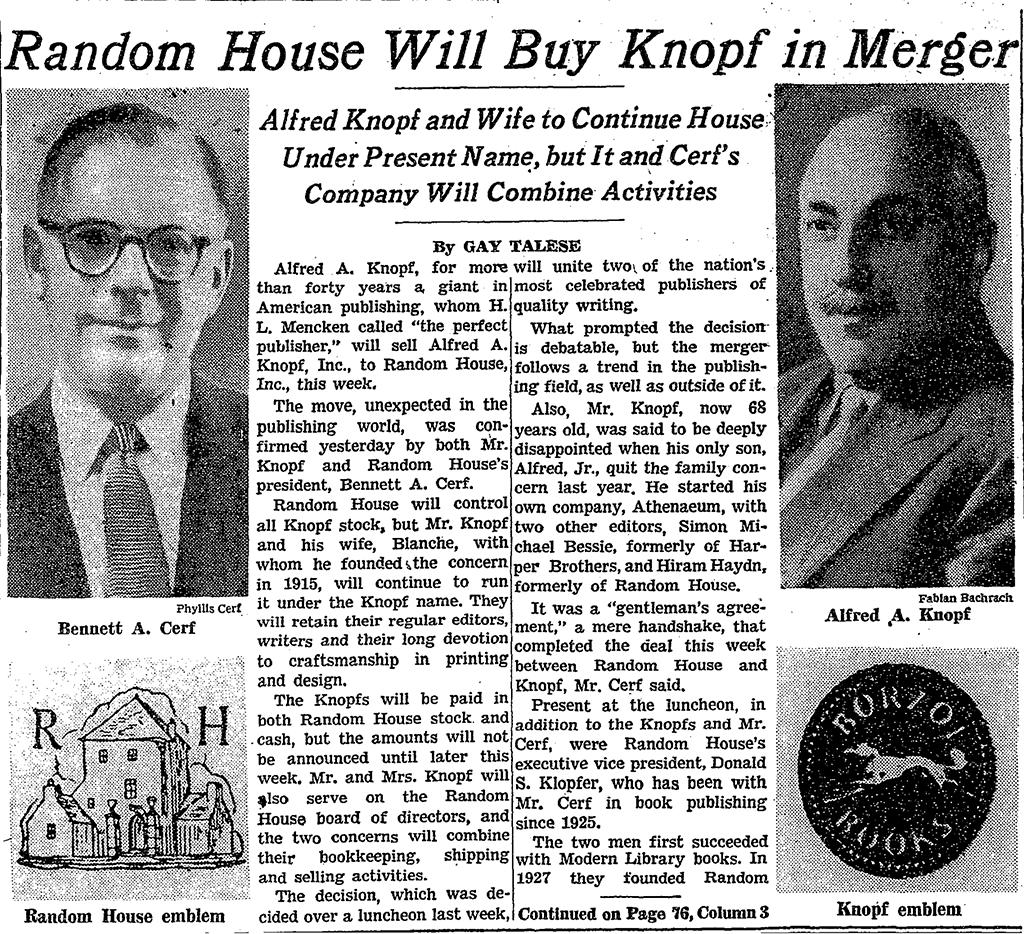 La notizia della cessione della Knopf a Random House, pubblicata sul New York Times del 17 aprile 1960