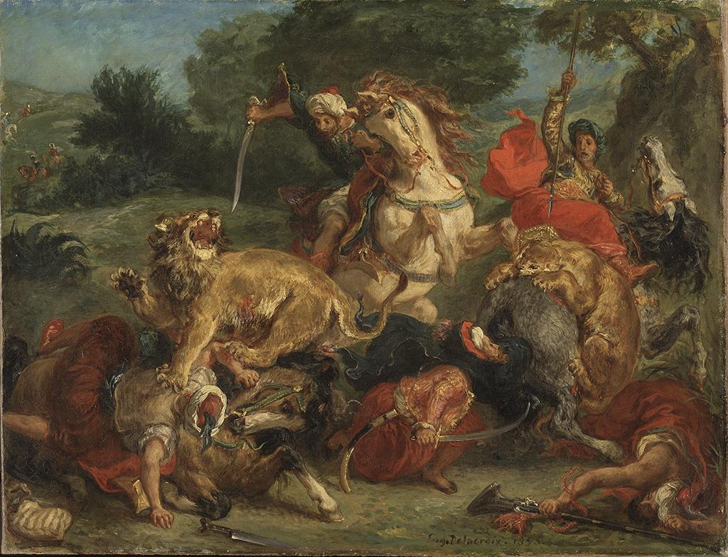 Eugène Delacroix Caccia al leone 1855