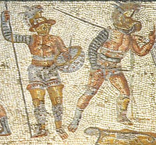 Gladiatori nel mosaico di Zliten II sec d.C. particolare