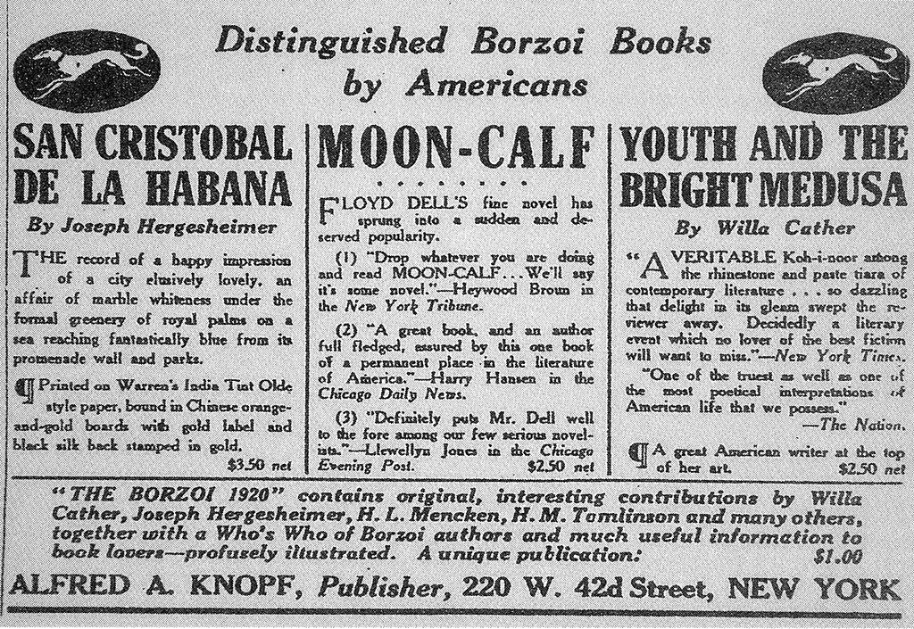 Una pubblicità per i Borzoi Books apparsa sul New York Times nel 1920.