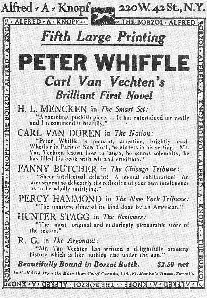 Una pubblicità Knopf apparsa sul New York Times nel 1922